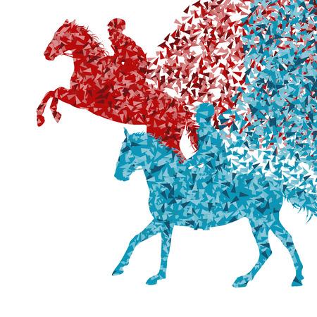 Paardensport paard springen vector abstracte illustratie achtergrond geïsoleerd op wit gemaakt met fragmenten begrip