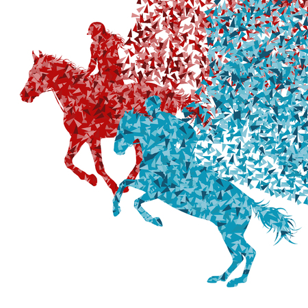 Equestrian sport horse jumping vector abstract illustration background isolated on white made with fragments concept