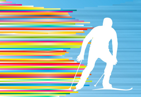 slope: Man skiing abstract vector background illustration with colorful stripes