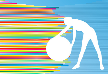 fitness ball: Woman fitness exercises on fitness ball vector abstract illustration striped background Illustration
