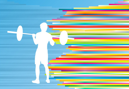fit body: Man powerlifting barbell crossfit gym vector abstract background Illustration