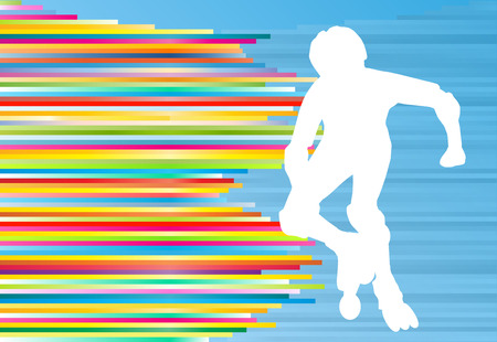 Boy driving roller skates abstract vector background illustration
