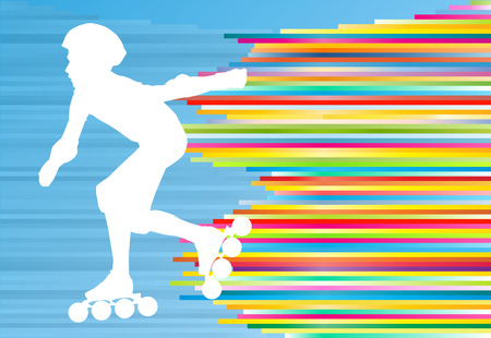 inline: Boy driving roller skates abstract vector background illustration