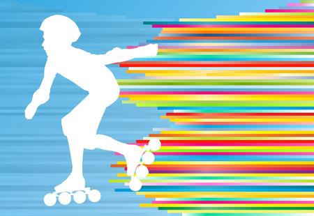 ni�o en patines: Muchacho que conduce el rodillo patines abstracta del fondo del vector Vectores
