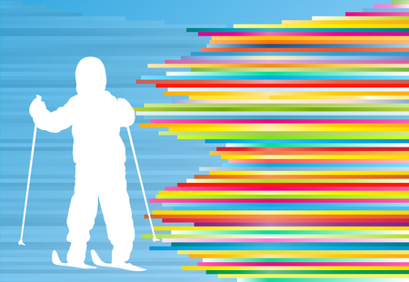 Children skiing kid winter fun vector abstract background illustration with colorful stripes