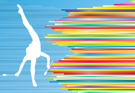 indian teenager: Female gymnast posing with Indian clubs vector background concept illustration with colorful stripes on blue Illustration