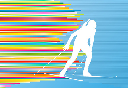 impetuous: Skiing woman abstract vector illustration with colorful stripes on blue background Illustration