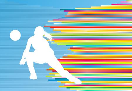 silueta de la mujer del jugador de voleibol abstracta del fondo del vector