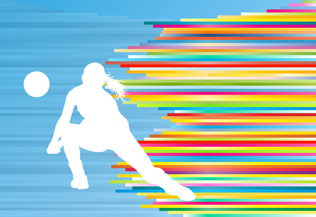 Volleyball player woman silhouette abstract vector background illustration Çizim