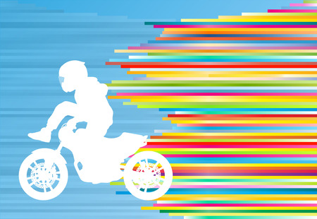 stunt: Motorcycle performance extreme stunt driver man sport bike vector abstract blue background illustration with colorful stripes Illustration