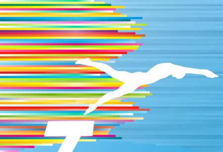nadar: Hombre joven atleta de salto en la piscina ilustración vectorial abstracto con rayas de colores sobre fondo azul