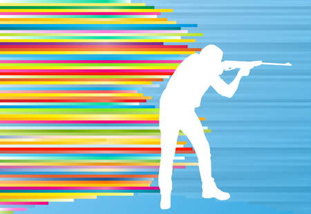 hombre disparando: Hombre disparando con un deporte vector resumen de antecedentes ilustración largo cazador de rifle con rayas de colores en azul