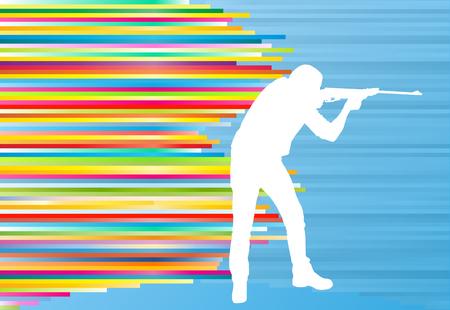 ricreazione: Uomo che spara con un lungo fucile cacciatore di sport vettore astratto illustrazione con strisce colorate sul blu Vettoriali