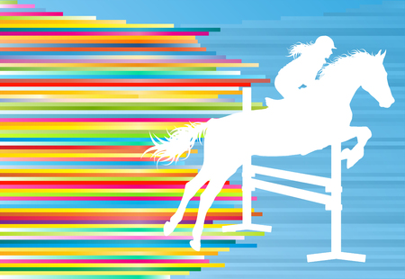 Equestrian sport horse jumping vector abstract illustration background with colorful lines