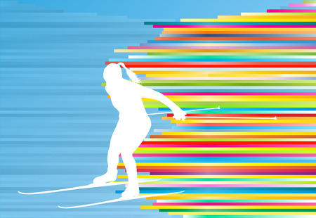 Skiing woman abstract vector illustration with colorful stripes on blue background Illustration