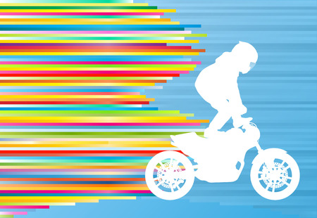 Motorcycle performance extreme stunt driver man sport bike vector abstract blue background illustration with colorful stripes
