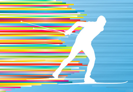Man skiing abstract vector background illustration with colorful stripes