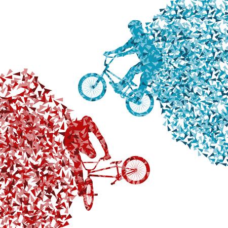 白で隔離ポリゴン片で作られたストリート ライダー少年ベクトル背景イラストをサイクリング