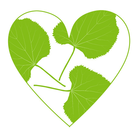 Green leaf ecology background in heart shape vector environmentally friendly illustration concept