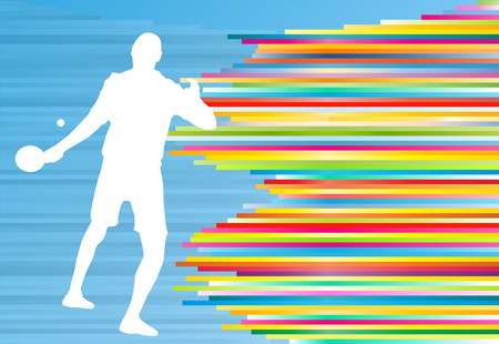 Table tennis player game vector abstract background illustration with colorful lines on blue