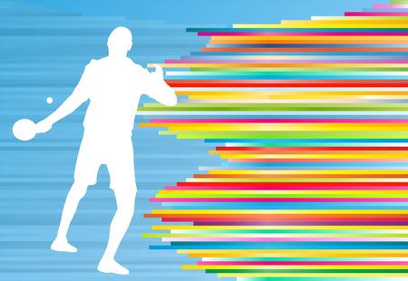 balones deportivos: Tabla tenista juego de vectores de fondo abstracto con líneas de colores en azul