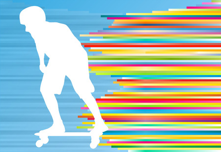 tripping: Skateboarding vector background abstract illustration with colorful stripes on blue