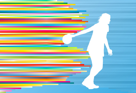 Bowler background bowling vector abstract illustration with colorful stripes on blue Illustration