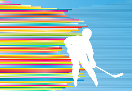 puck: Hockey player abstract vector background illustration with colorful stripes on blue