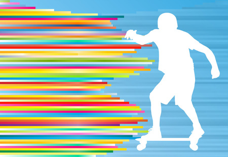 Skateboarding vector background abstract illustration with colorful stripes on blue