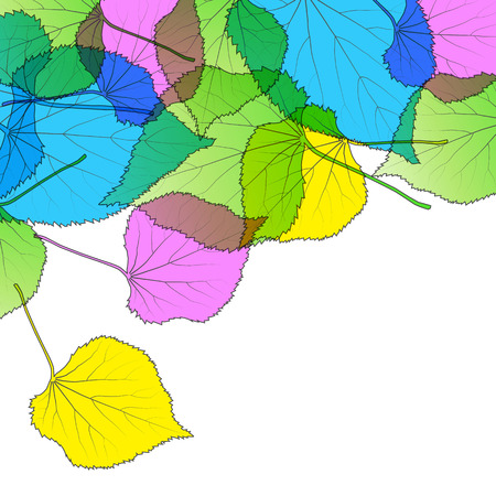 Leaves autumn colorful modern background vector abstract illustration card with white copy space Illustration