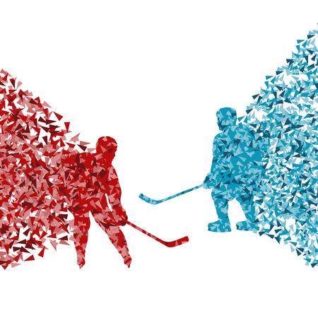 Hockey player abstract vector background illustration concept made of fragments isolated on white