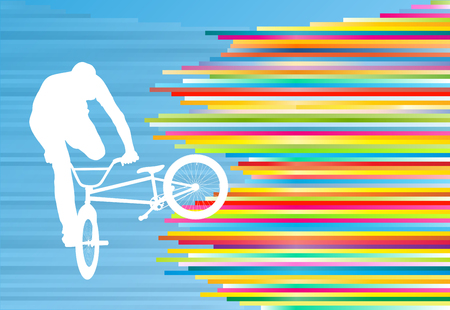 stunt: Cycling street rider stunt trick boy vector background abstract illustration with colorful stripes on blue