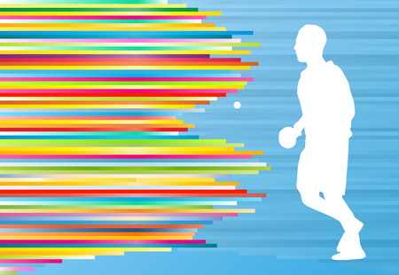 frolic: Table tennis player game vector abstract background illustration with colorful lines on blue