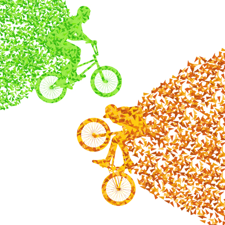 fragments: Cycling street rider boy vector background illustration made with polygon fragments isolated on white