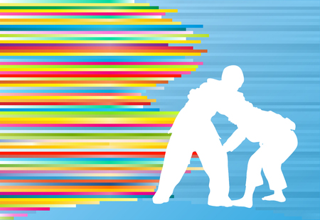 Judo fight boy vector background abstract illustration with colorful stripes on blue