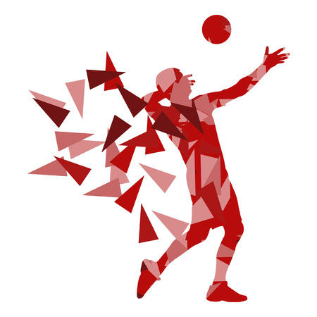 man made: Volleyball player man silhouette made of polygon fragments vector background concept isolated on white