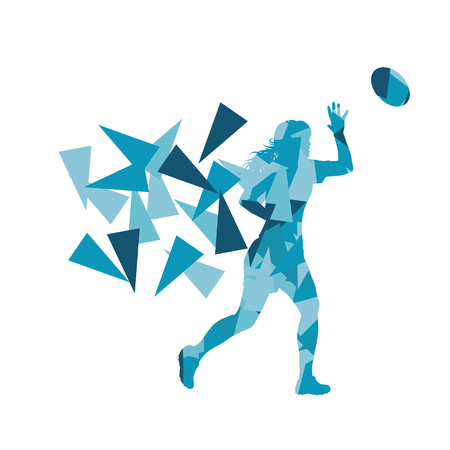 tough girl: Female rugby player woman abstract vector background made of polygon fragments isolated on white