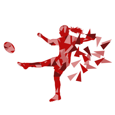Female rugby player woman abstract vector background made of polygon fragments isolated on white