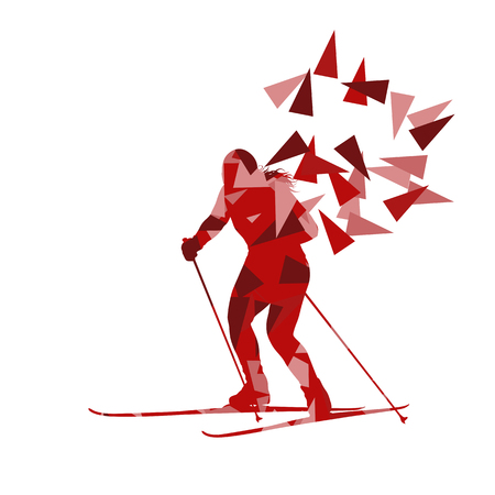 sport woman: Female woman skiing vector background winter abstract sport illustration made with polygon fragments isolated on white Illustration