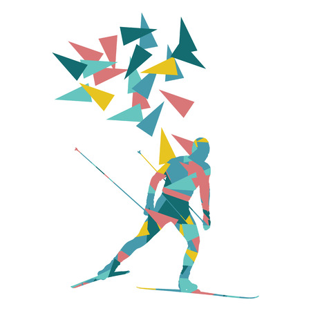 man made: Skiing man vector background abstract illustration concept made of polygon fragments isolated on white