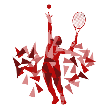 backhand: Tennis player woman abstract illustration made of polygon fragments isolated on white