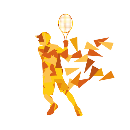 backhand: Tennis player man abstract illustration made of polygon fragments isolated on white