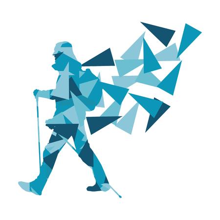 Randonnée et nordic personne qui marche, vecteur, fond concept abstrait fait de fragments de polygones isolés sur fond blanc