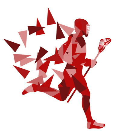 Lacrosse player abstract vector background illustration made of polygon fragments isolated on white
