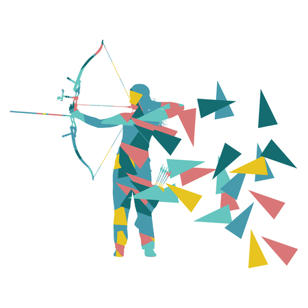Archery woman archer training with bow vector background concept made with polygon fragments isolated on white Illustration