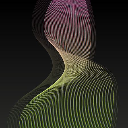 Abstract wave lines vector black background illustration Illustration