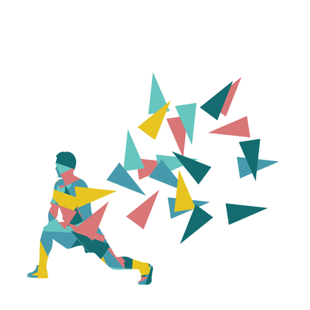 warm up: Man stretching exercise fitness warm up vector background abstract illustration concept made of polygon fragments isolated on white Illustration