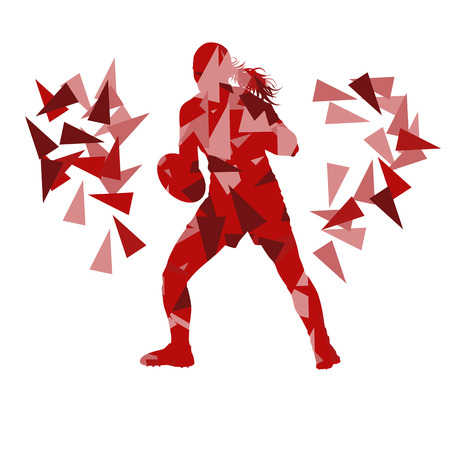 scrum: Female rugby player woman abstract vector background made of polygon fragments isolated on white
