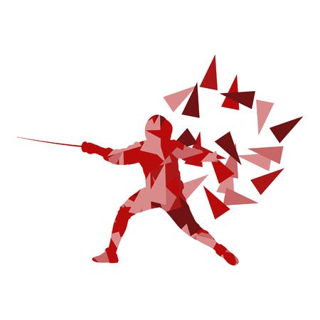fencing: Woman fencing sport vector background concept illustration made of polygon fragments isolated on white