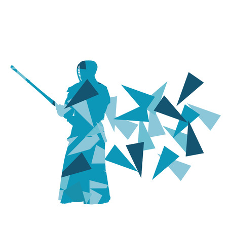 Kendo fighter vector background abstract illustration concept made with polygon fragments isolated on white